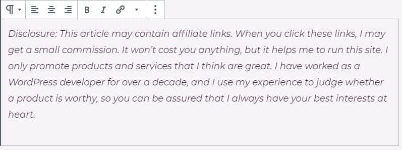 WordPress Paragraph Block