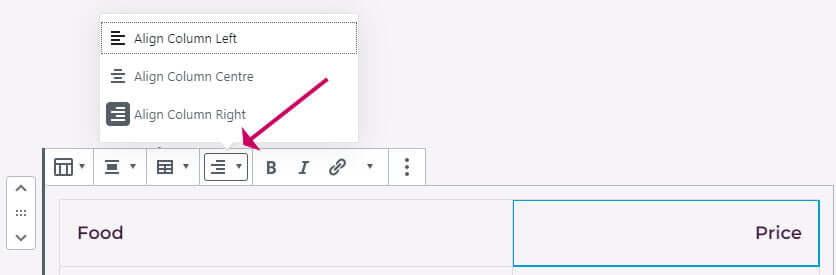 Align columns in WordPress table block