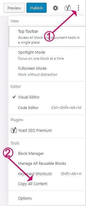 Block editor - copy all content