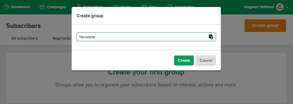 create a group in mailerlite dialog
