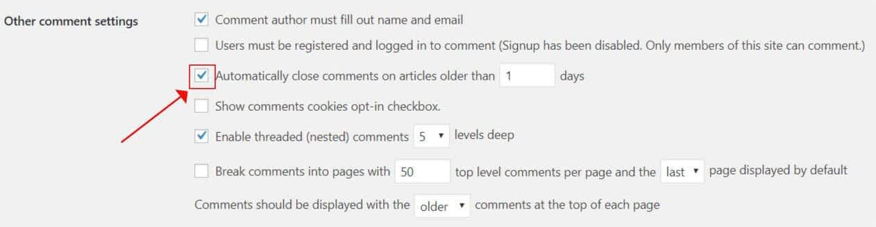 Automatically close comments on articles older than