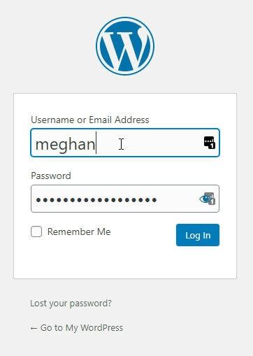 wordpress dashboard login