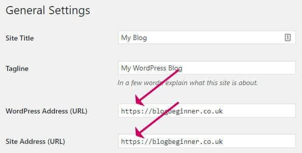 WordPress update URLs to HTTPS