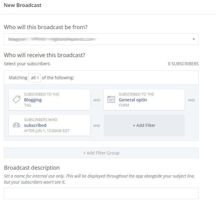 Set up ConvertKit broadcast email