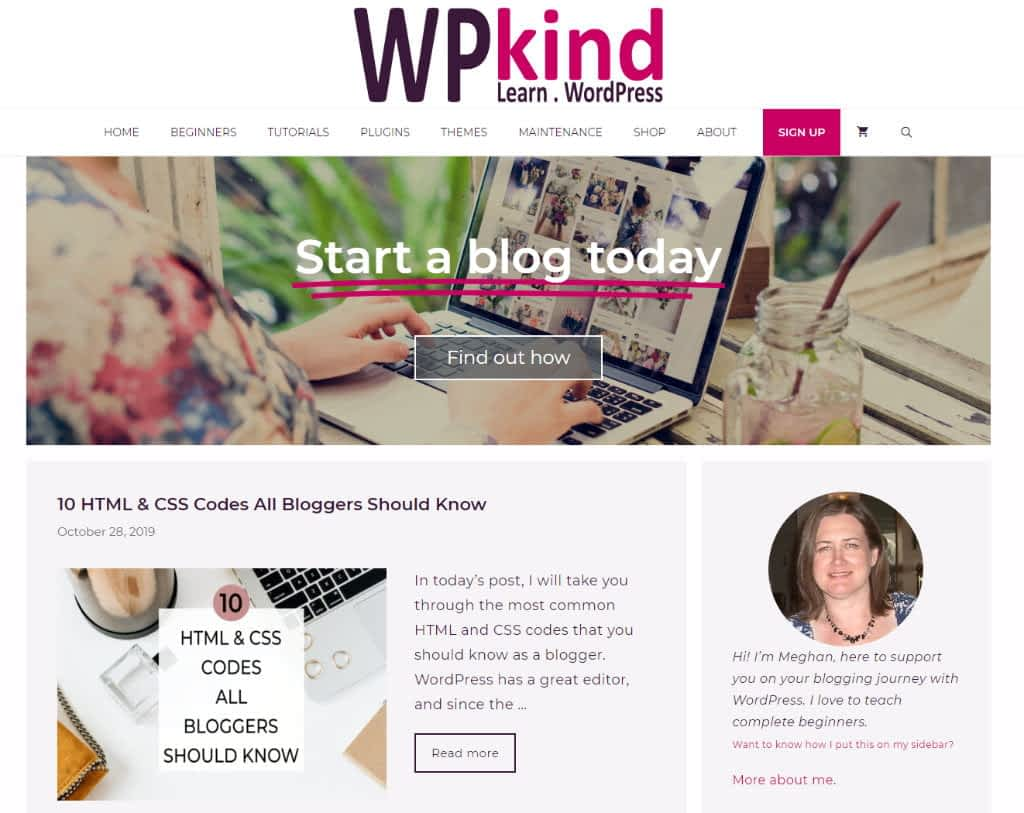 WPkind home page example