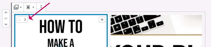 WordPress gallery block - change image order