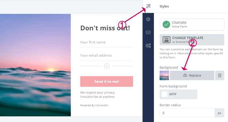 Change the image on a ConvertKit form
