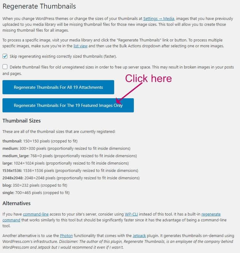 How to regenerate the WordPress image sizes