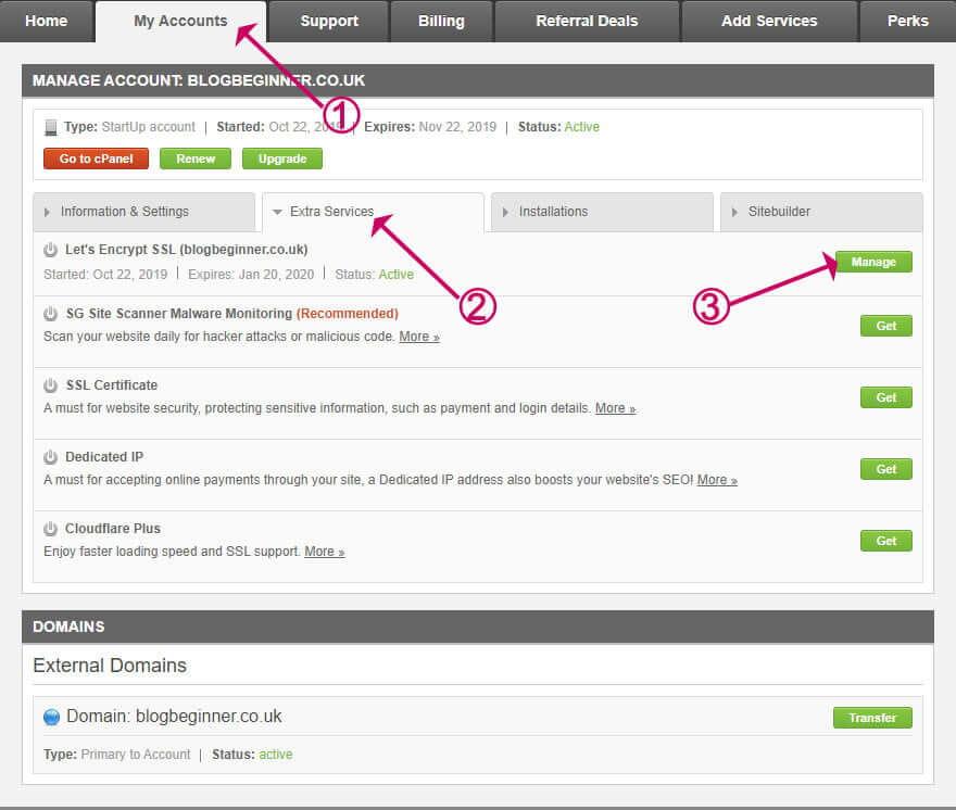 Siteground manage SSL