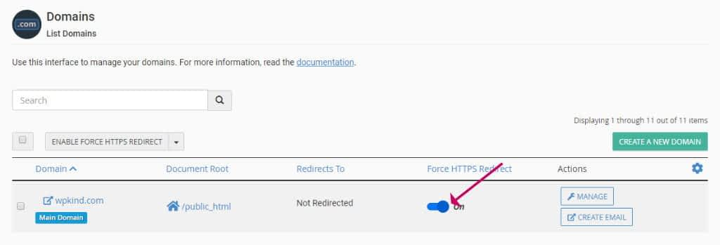 cPanel Domains redirect to https.