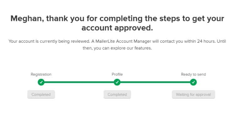 Mailerlite waiting for approval