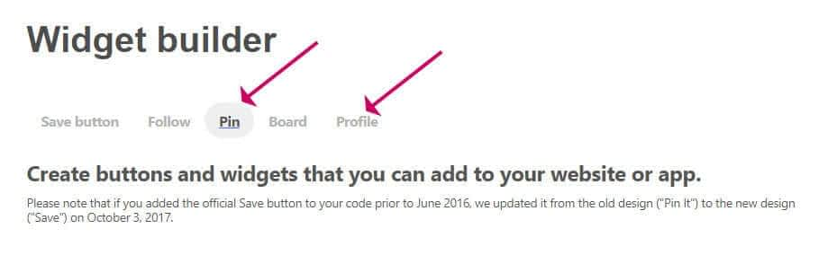 Pinterest pin or profile widget creation