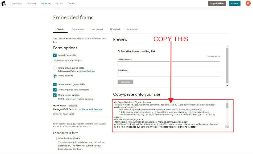MailChimp embedded forms screen