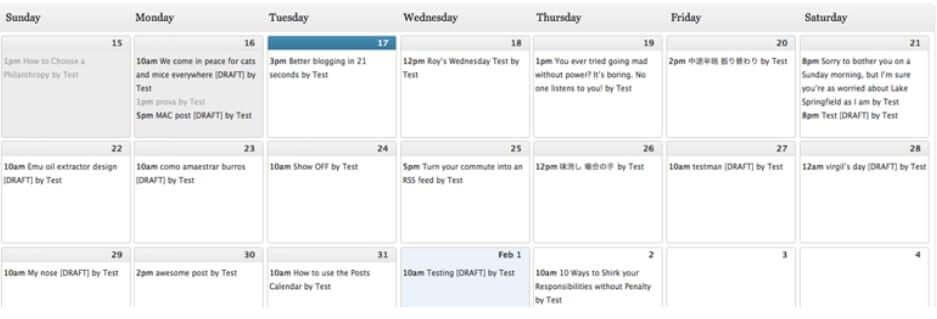 Editorial Calendar WordPress plugin