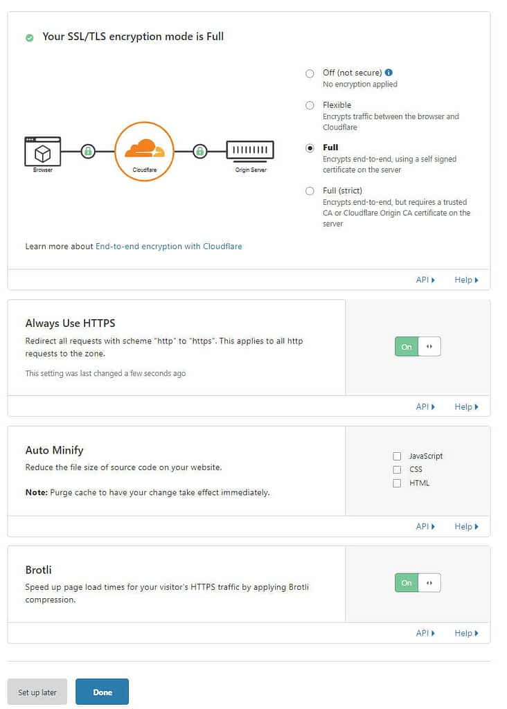 Cloudflare security and speed optimization settings