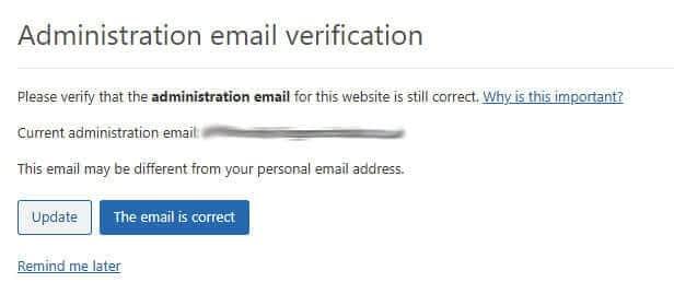WordPress 5.3 confirm admin email address