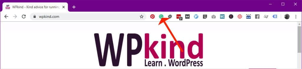 Grammarly icon in toolbar