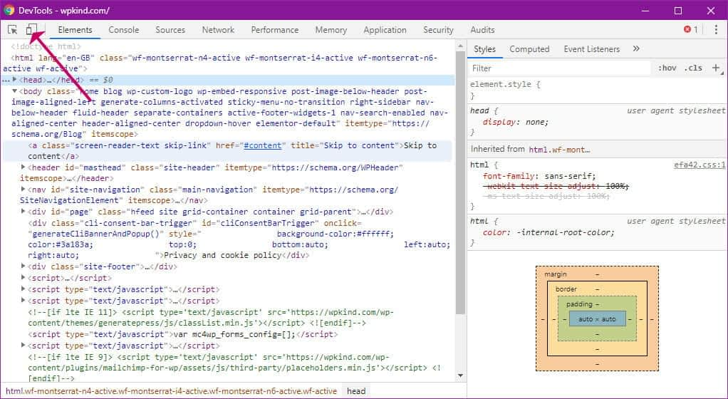 Chrome Developer Tools Window