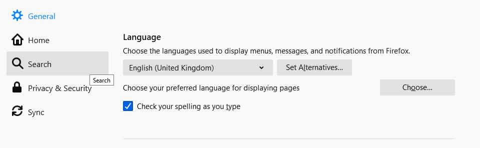 Firefox spell checking options