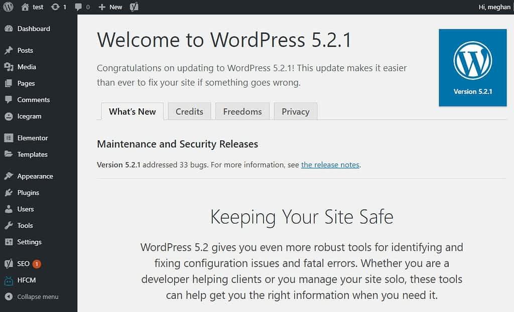 WordPress update complete