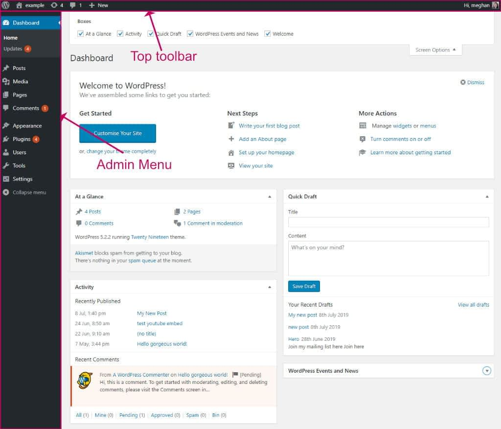 WordPress admin dashboard screen layout