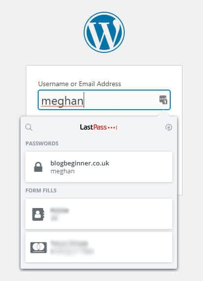 login form with lastpass enabled