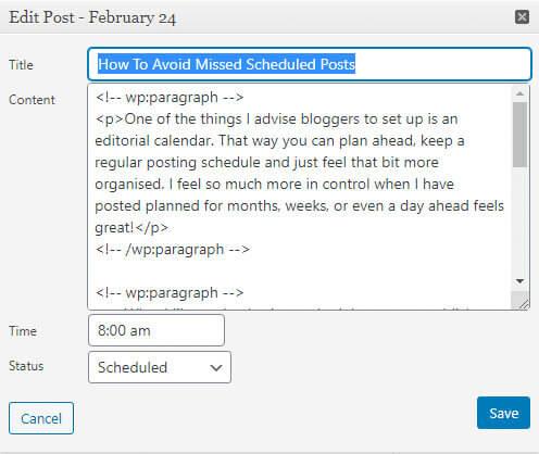 Schedule a post with the wordpress editorial calendar plugin