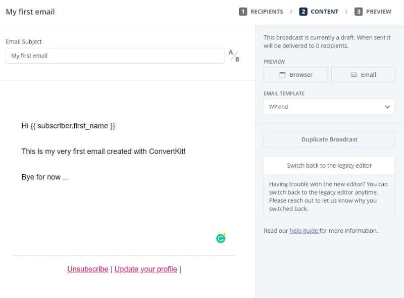 Write an email in ConvertKit