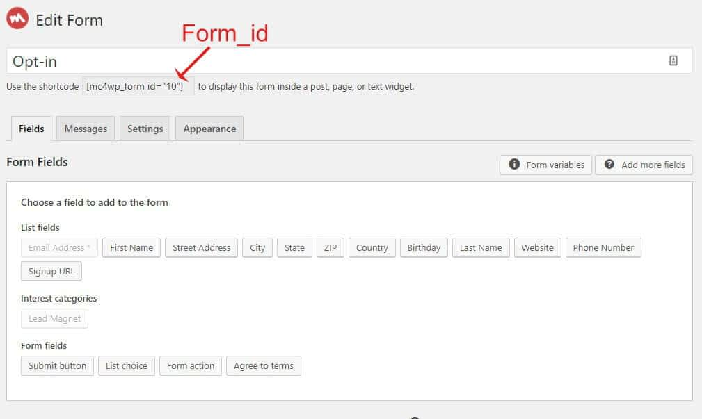 MailChimp settings screen showing form_id