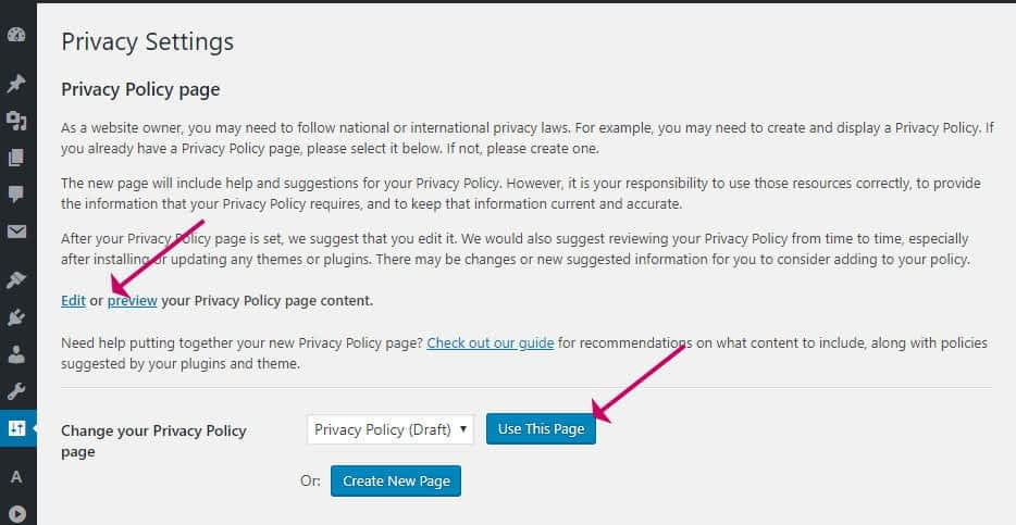 WordPress privacy policy creation
