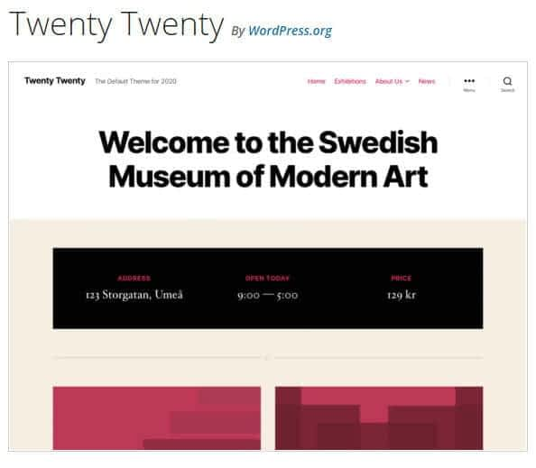 WordPress TwentyTwenty theme