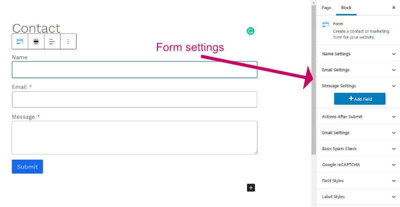 Block settings for kadence blocks contact form