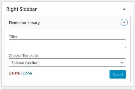 Elementor library widget