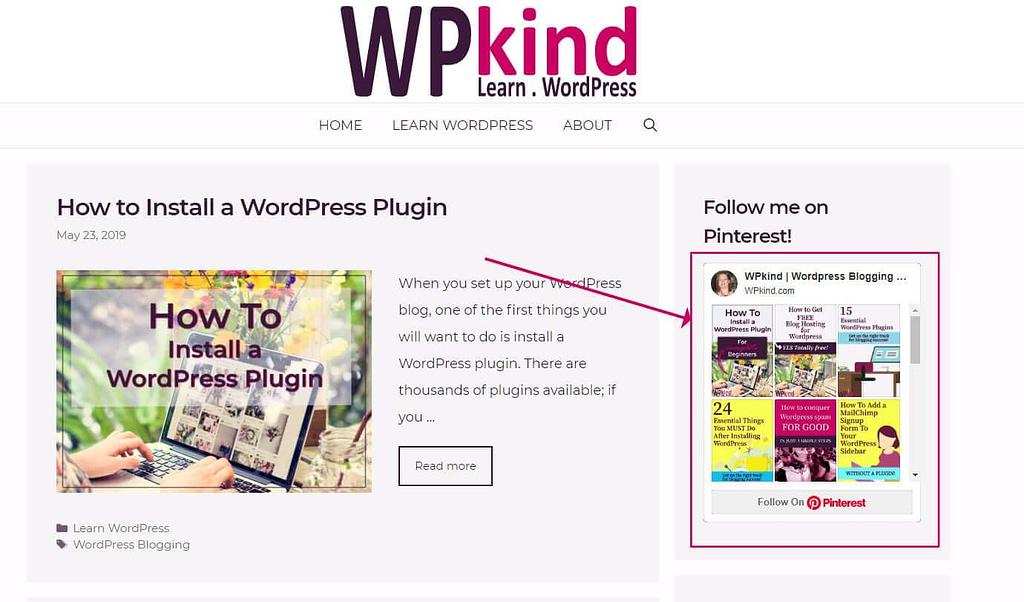 Pinterest board widget in WordPress sidebar
