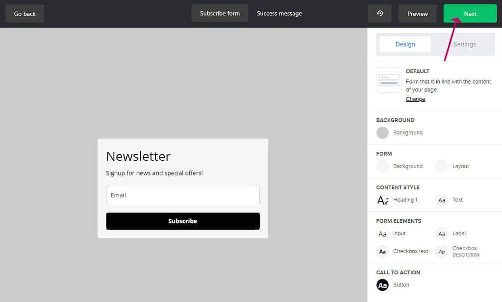 design your mailerlite form
