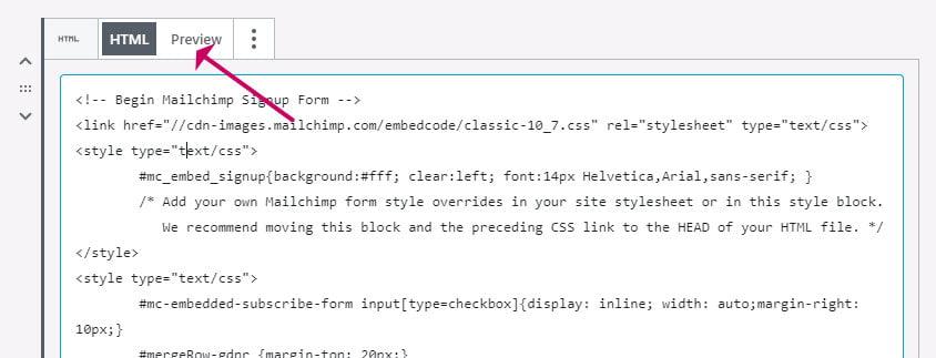 Start a mailing list with Mailchimp paste code into gutenberg block