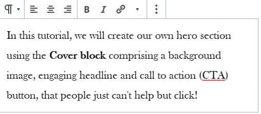 WordPress paragraph block with toolbar