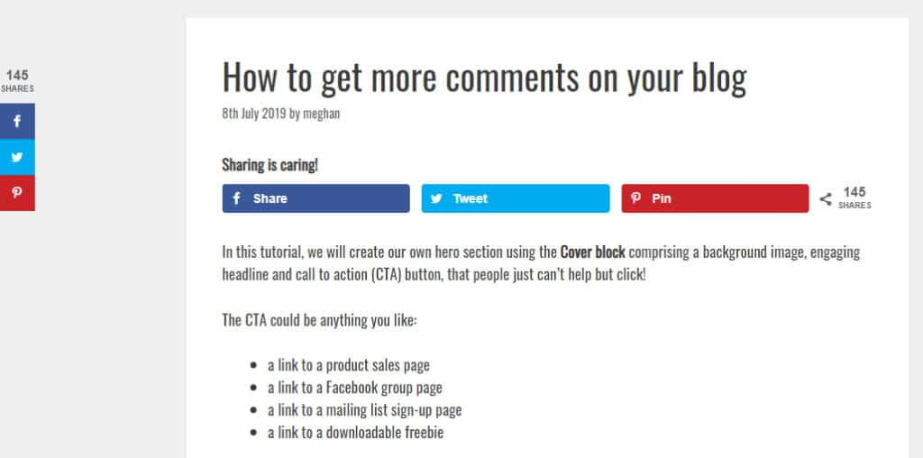Grow social pro sharing buttons example