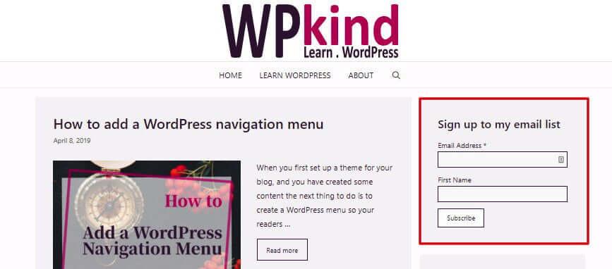 WordPress sidebar with MailChimp Signup Form