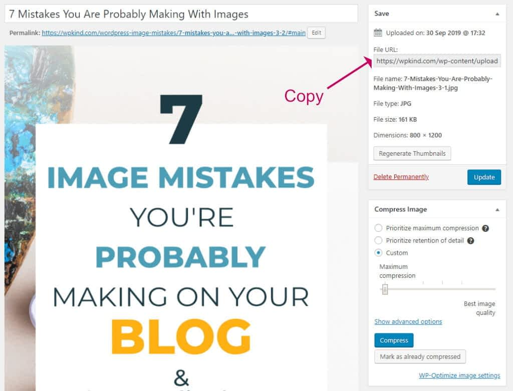 Copy an image file URL from WordPress Media Library