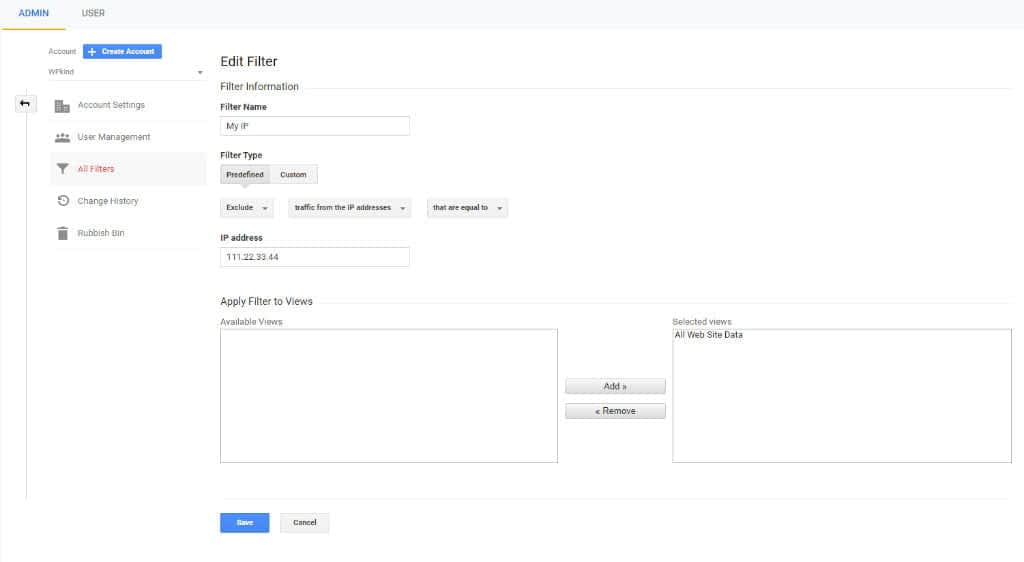 Exclude IP from Google Analytics tracking