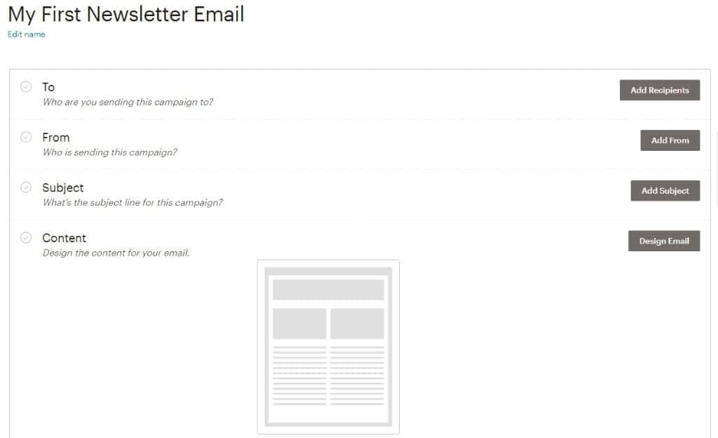 Start a mailing list with Mailchimp create campaign