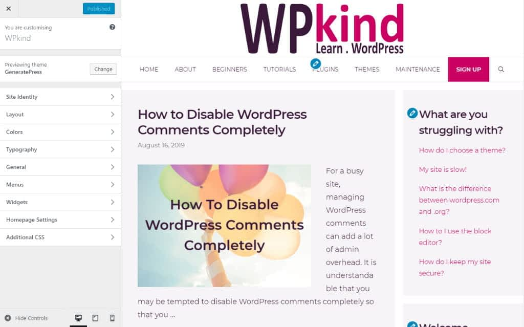 How to use the WordPress customiser