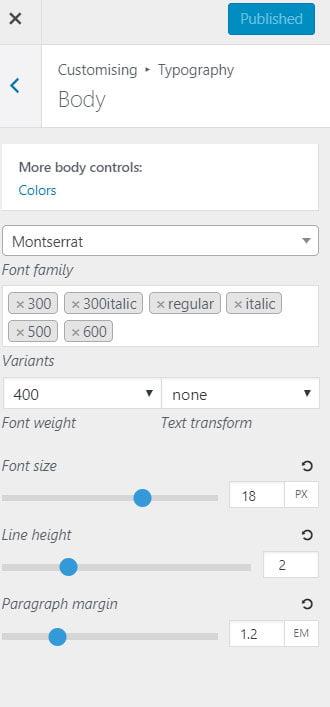GeneratePress Google font selection