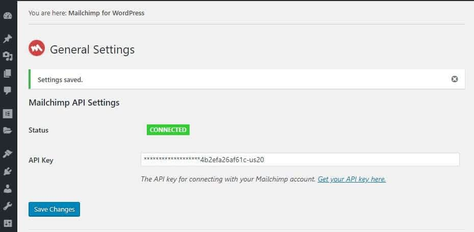 Mailchimp for WordPress - Connected