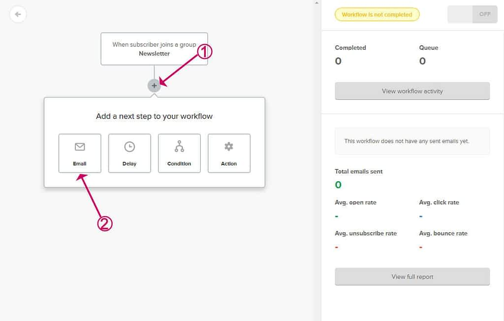 add an email to the mailerlite flow