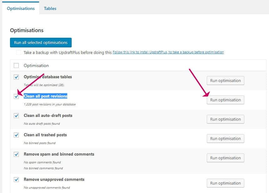 WP-Optimize plugin - clear all post revisions