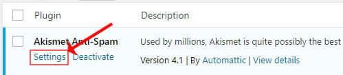 Akismet spam settings link