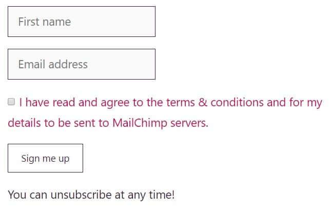 MailChimp GDPR compliant sign-up form