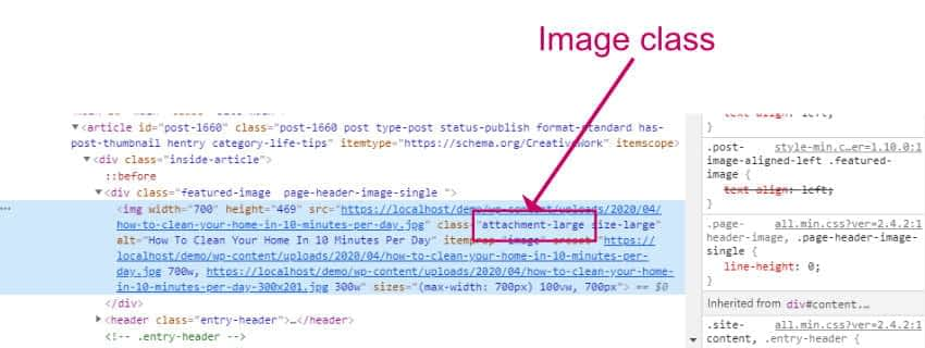 How to find the WordPress featured image size